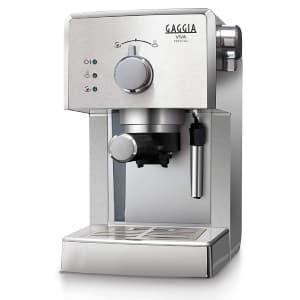 Macchina per il caffè Gaggia RI8437/11 Viva Prestige colore acciaio su sfondo bianco