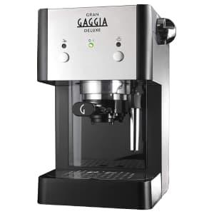 Macchina per il caffè nera e bianca Gaggia GranGaggia Deluxe Black con sfondo bianco